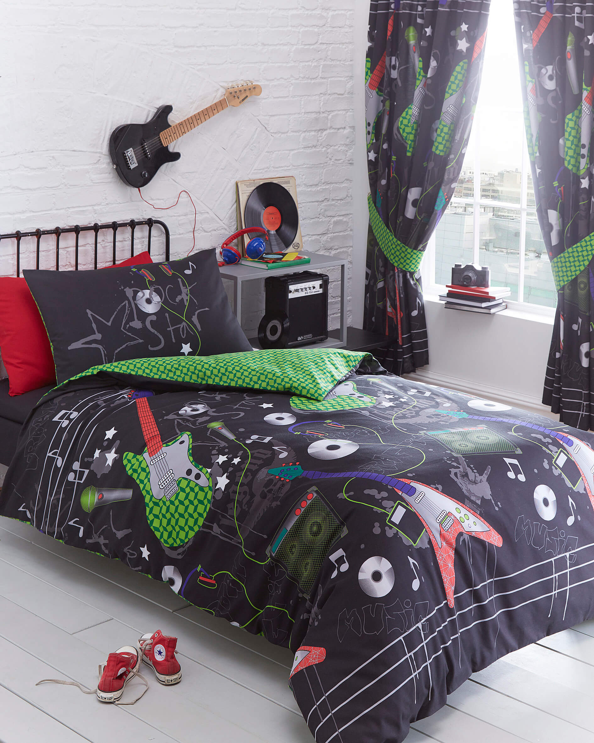guitar rock design duvet cover set single also available in double king size matching curtains available bright reverse design
