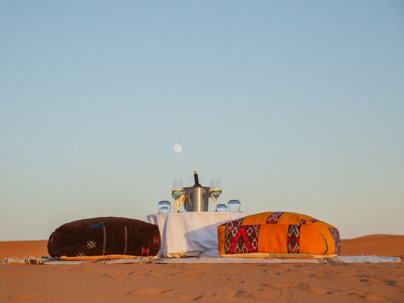 Morocco Private Desert Camp Under Blue Sky