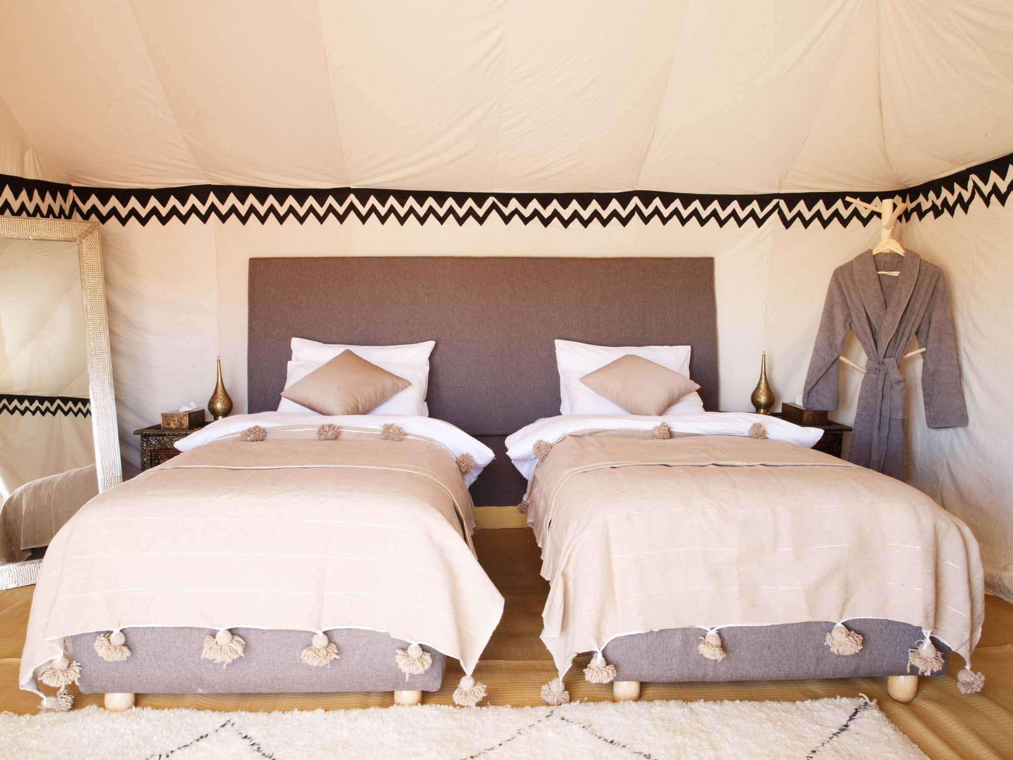 Luxury Twin Beds in Tent at Berber Luxury Desert Camp Erg Chigaga