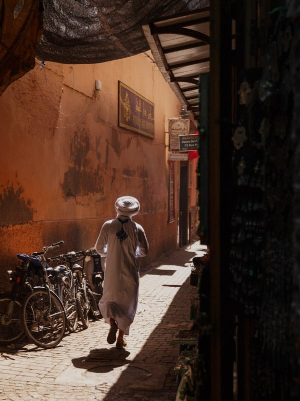 Bicycles in a Back street in Kasbah area of the Marrakech Medina
