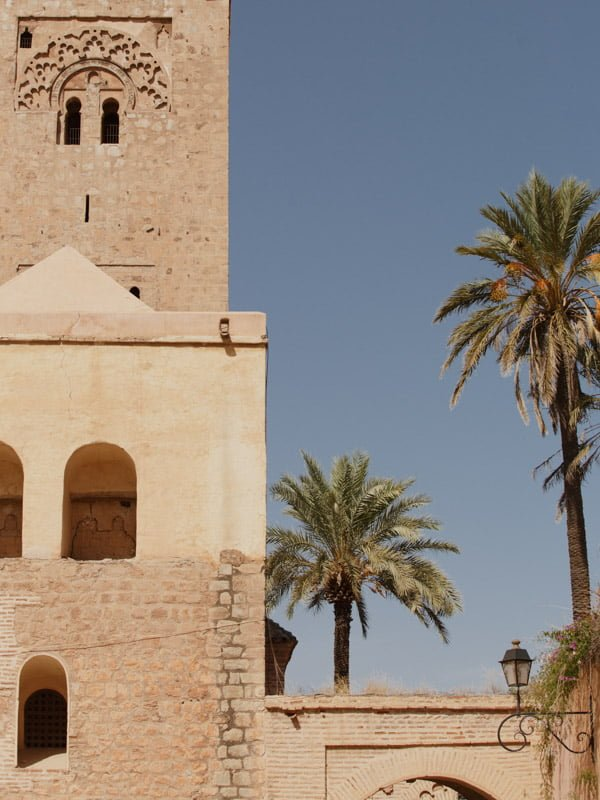 Partial View of Al Koutoubia Mosque, Marrakech and Palm Trees