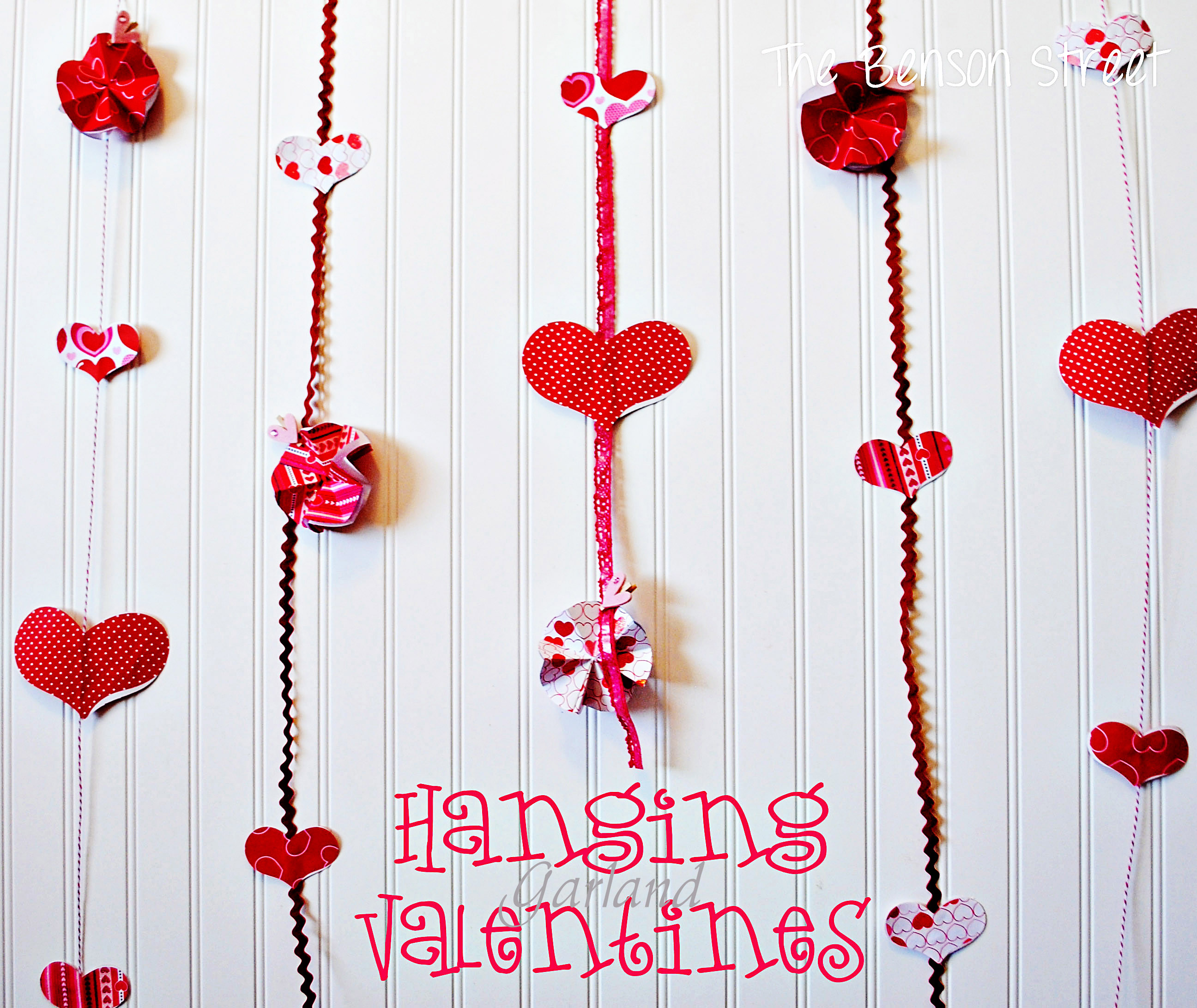 Hanging Valentine Garland at the Benson Street