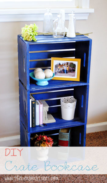 Cobalt Crate Book Case Project at www.thebensonstreet.com