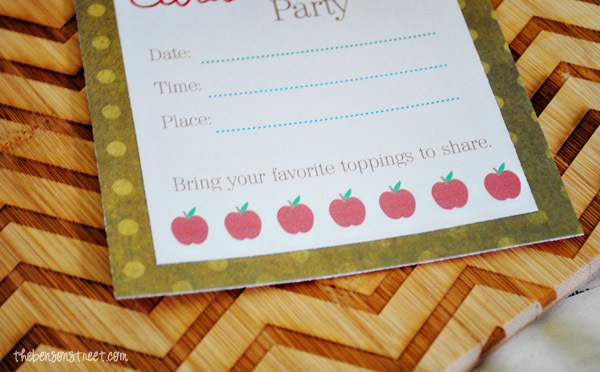 Throw a Caramel Apple Party with this Printable Invitation at thebensonstreet.com