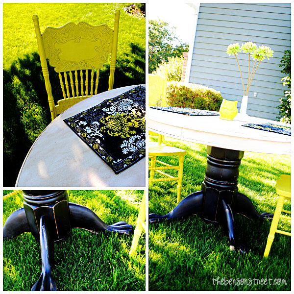 Upcycled Dining Table with bright chairs at thebensonstreet.com