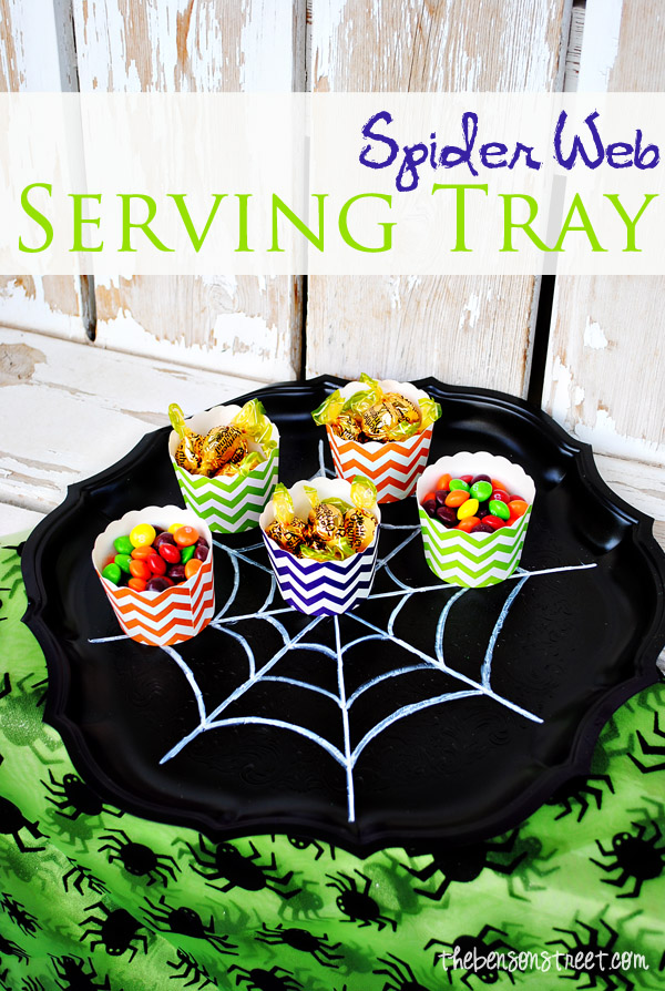 Spider Web Serving Tray for Halloween Tutorial at thebensonstreet.com
