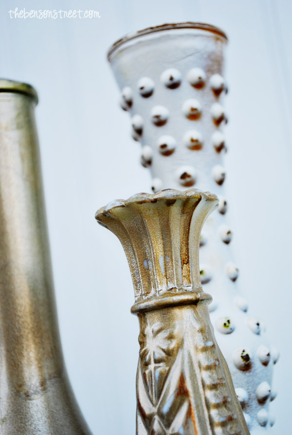 Beautiful Gold Painted Vases at thebensonstreet.com