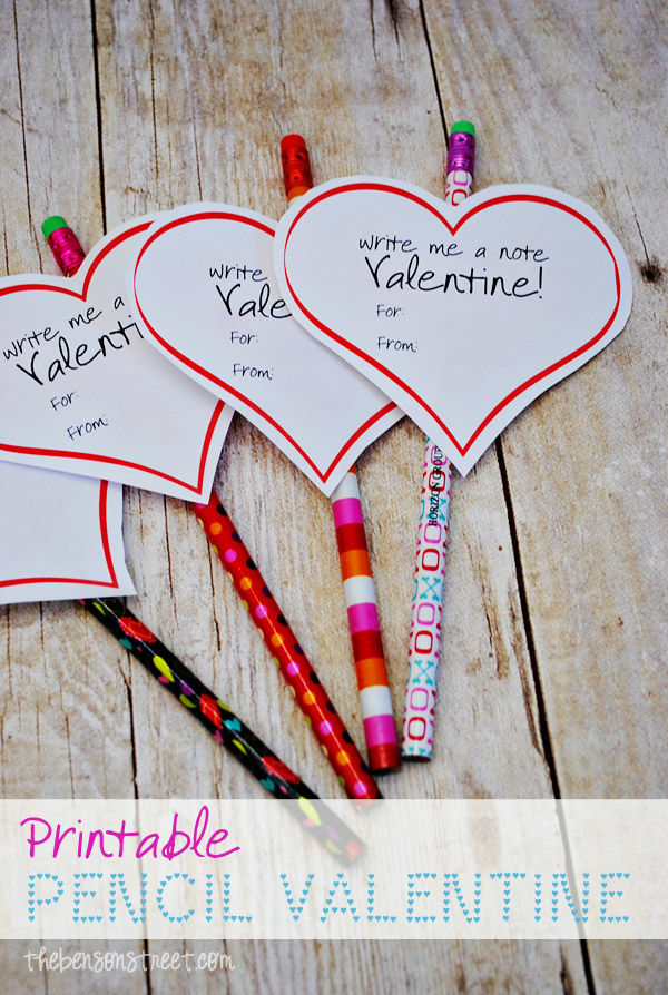 Free Printable Valentine for pencils at thebensonstreet.com
