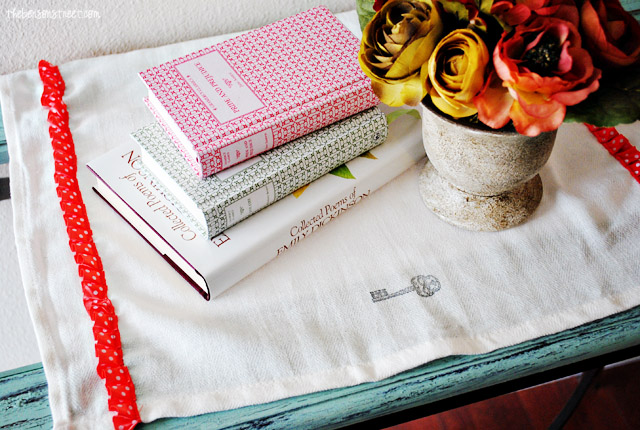 Ribbon lined tea towels at thebensonstreet.com