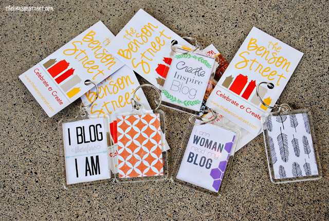 Cute blog keychains plus business cards at thebensonstreet.com