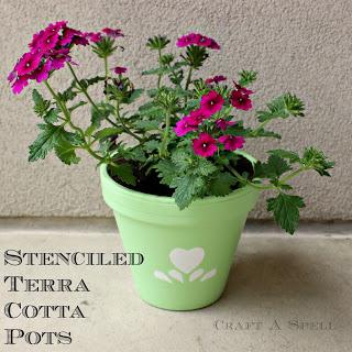 Stenciled Terra cotta Pots