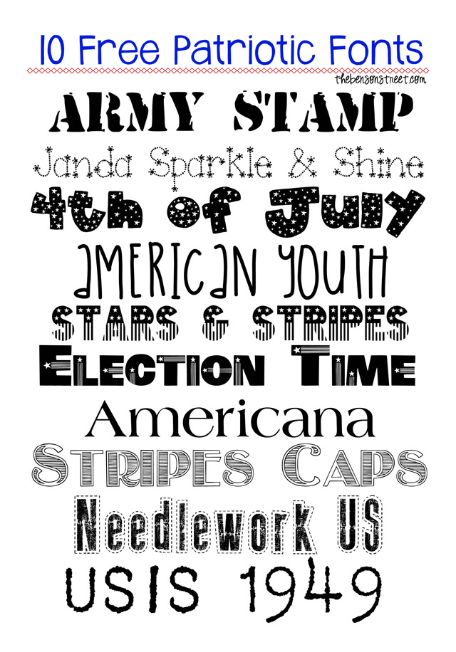 10 Free Patriotic Fonts at thebensonstreet.com