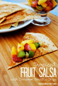 Tropical Fruit Salsa with Cinnamon Tortilla Chips at thebensonstreet.com