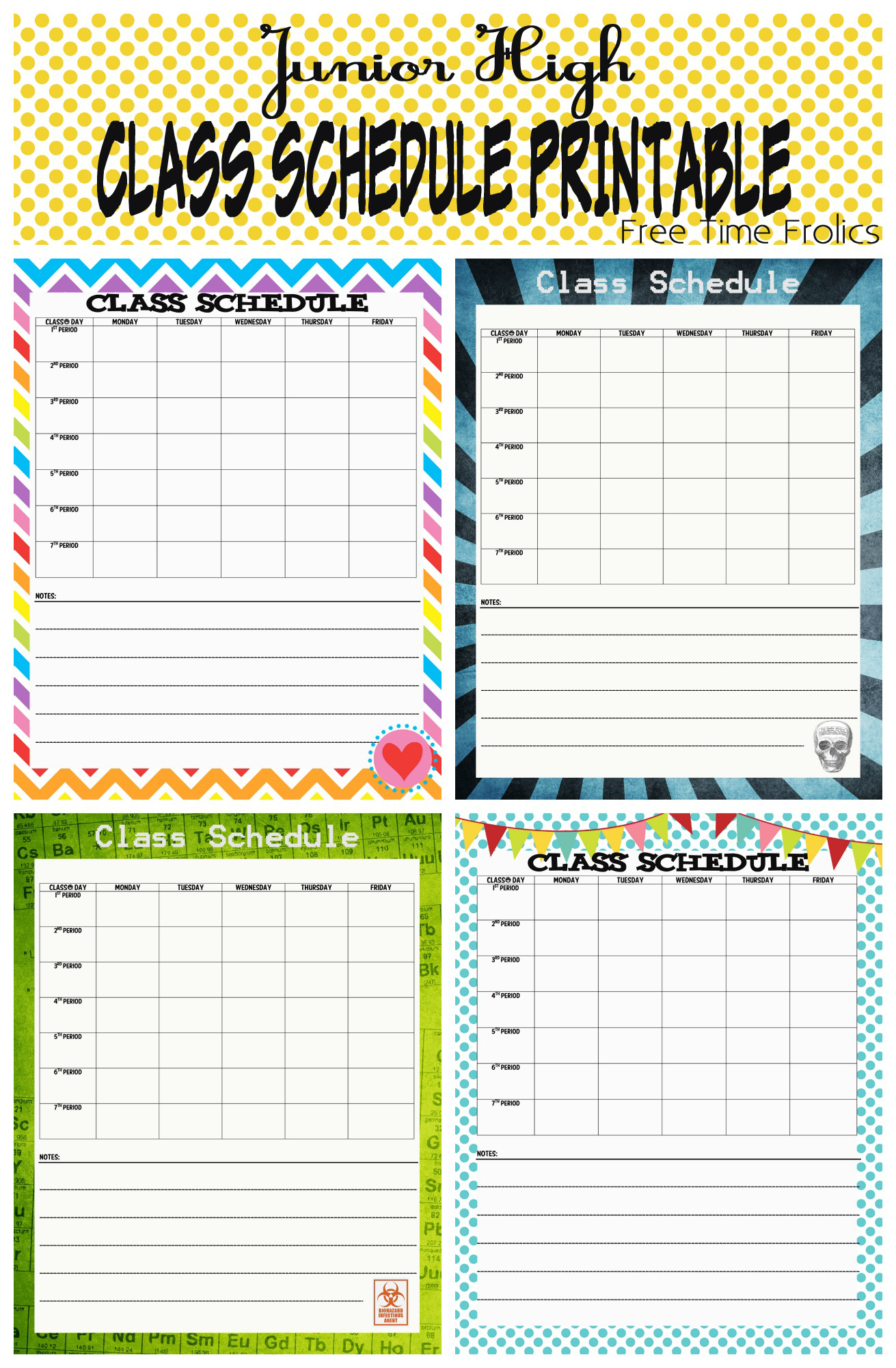 School Schedule Printable Back To School Series