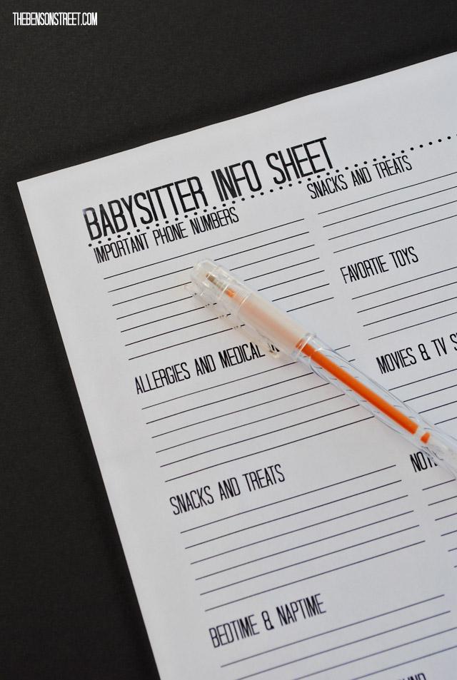 Printable Babysitter Info Sheet at thebensonstreet.com