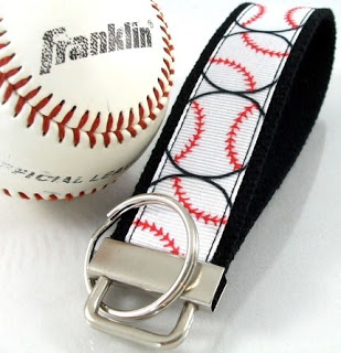 Softball Ribbon Key Fob