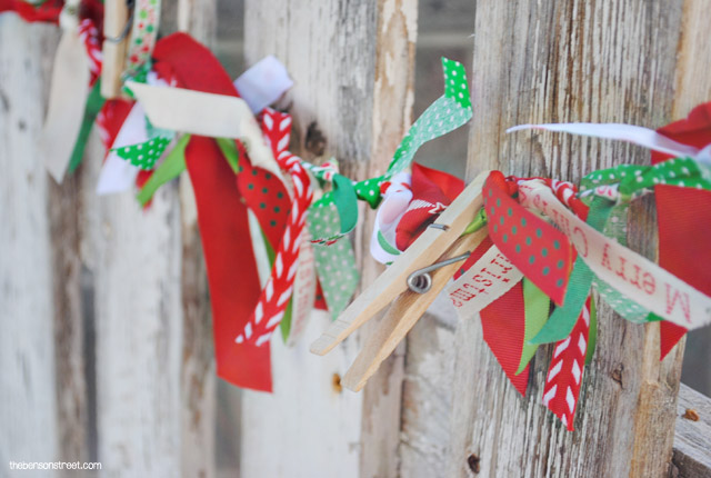Easy Ribbon Christmas Garland at thebensonstreet.com