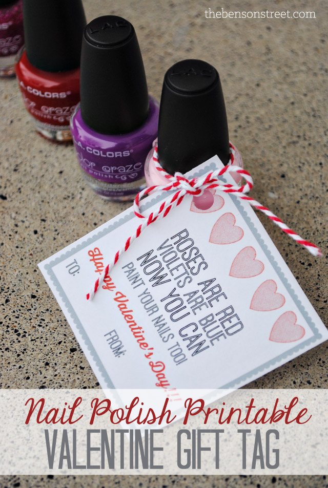 picture relating to Printable Nails identify Nail Polish Valentine Reward Tag - The Benson Road