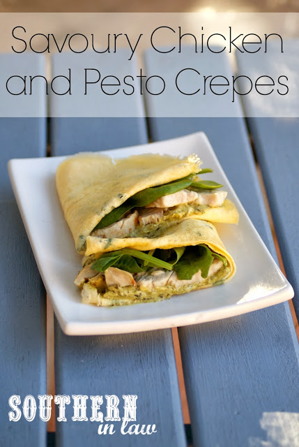 Savoury Chicken and Pesto Crepes