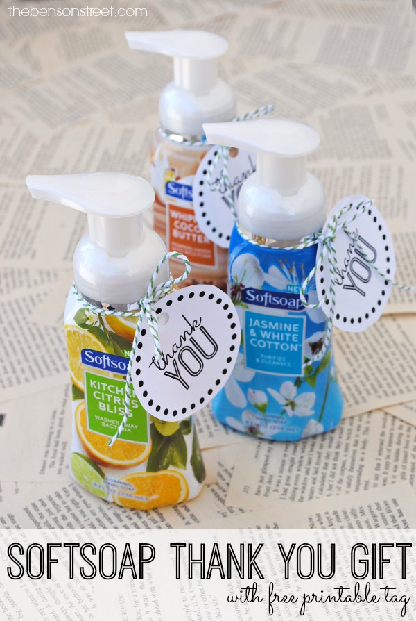 Softsoap thank you gift idea with free printable tag at thebensonstreet.com