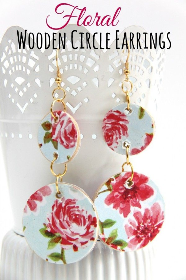 wooden floral earrings