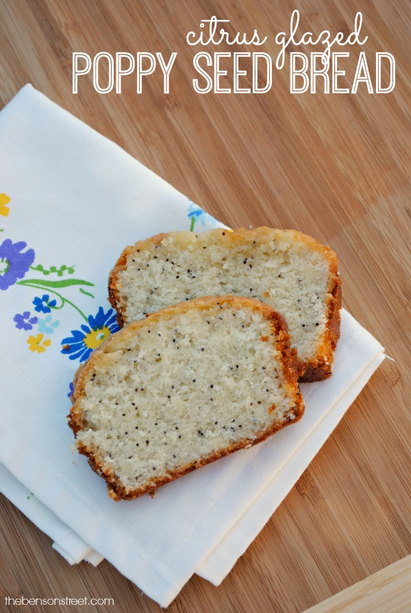 Citrus Glazed Poppy Seed Bread via thebensonstreet.com