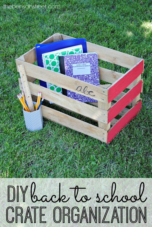 DIY Back to School Vintage Crate Organization
