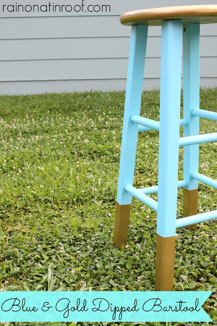 blue and gold dipped barstool 1