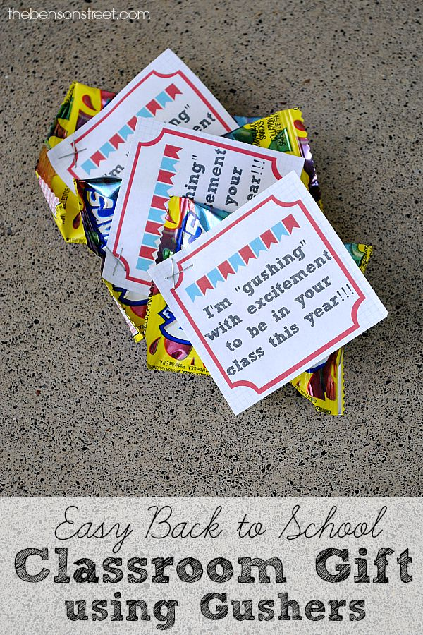 Easy Back to School Classroom Gift using Gushers with printable at thebensonstreet.com
