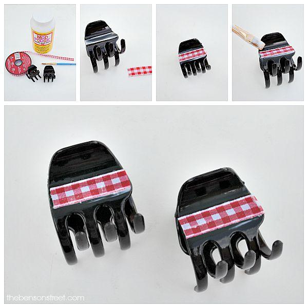 Plaid Ribbon Hair Clips at thebensonstreet.com