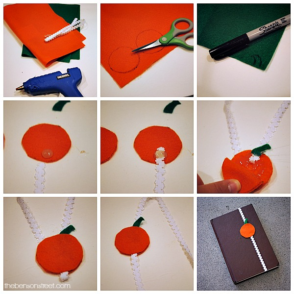 Pumpkin Bookmark Tutorial using Elastic and Felt at thebensonstreet.com