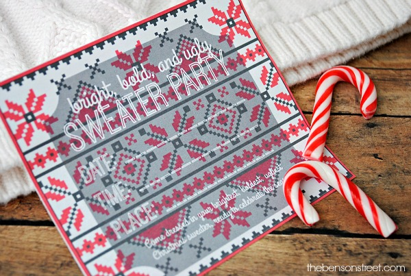 Bright, bold, and ugly sweater party invitation at thebensonstreet.com