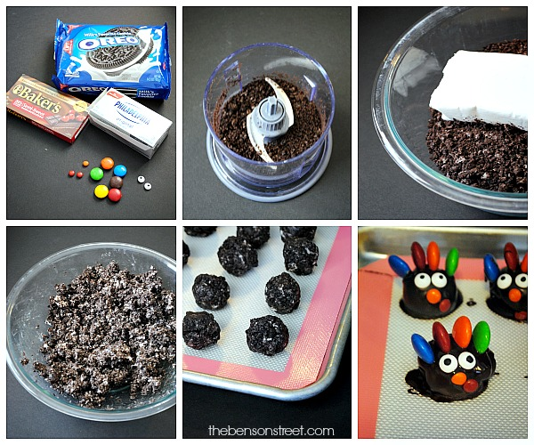 How to make OREO Cookie Balls look like turkeys at thebensonstreet.com