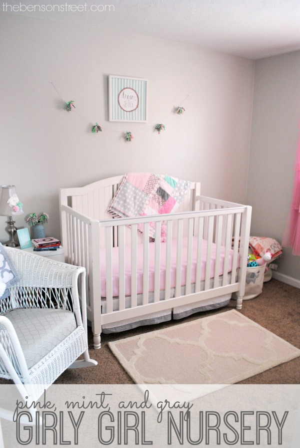 Adorable pink, mint and gray girly girl nursery with pretty vintage touches at thebensonstreet.com