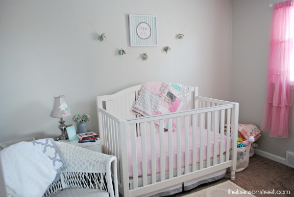 Pink, Mint, and Gray Vintage touches nursery at thebensonstreet.com