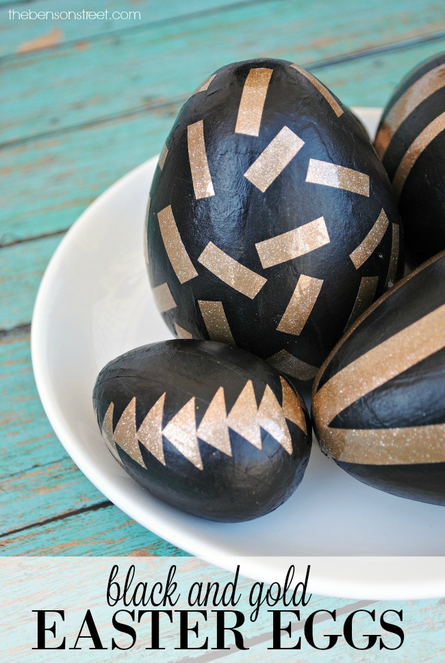 EASY Easter Egg DIY! Black and gold eggs. Confetti Gold Glitter and Black Easter Eggs by thebensonstreet.com