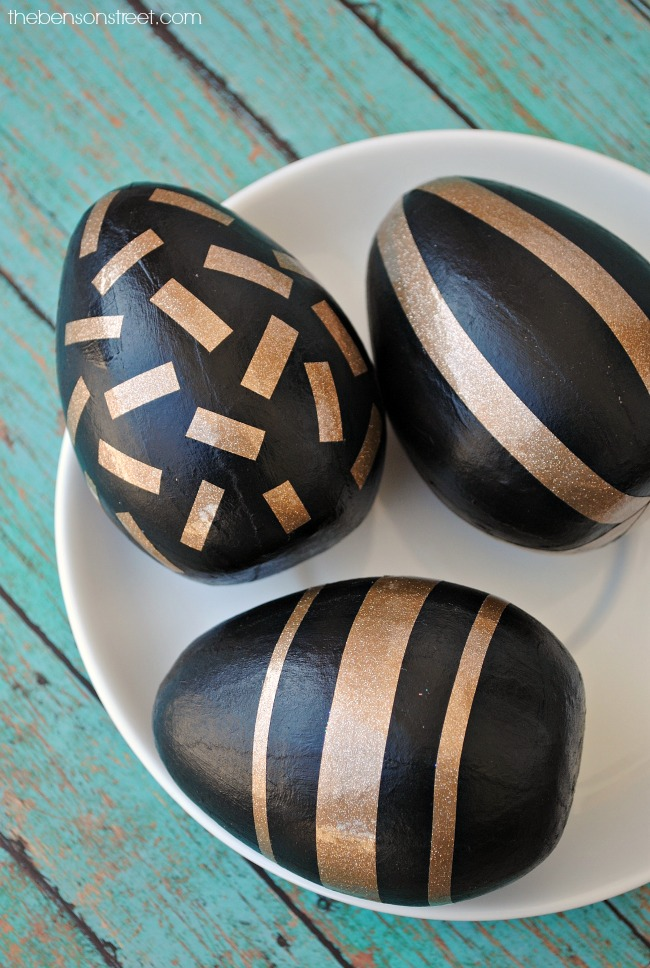 Gold Glitter and Black Easter Eggs by thebensonstreet.com