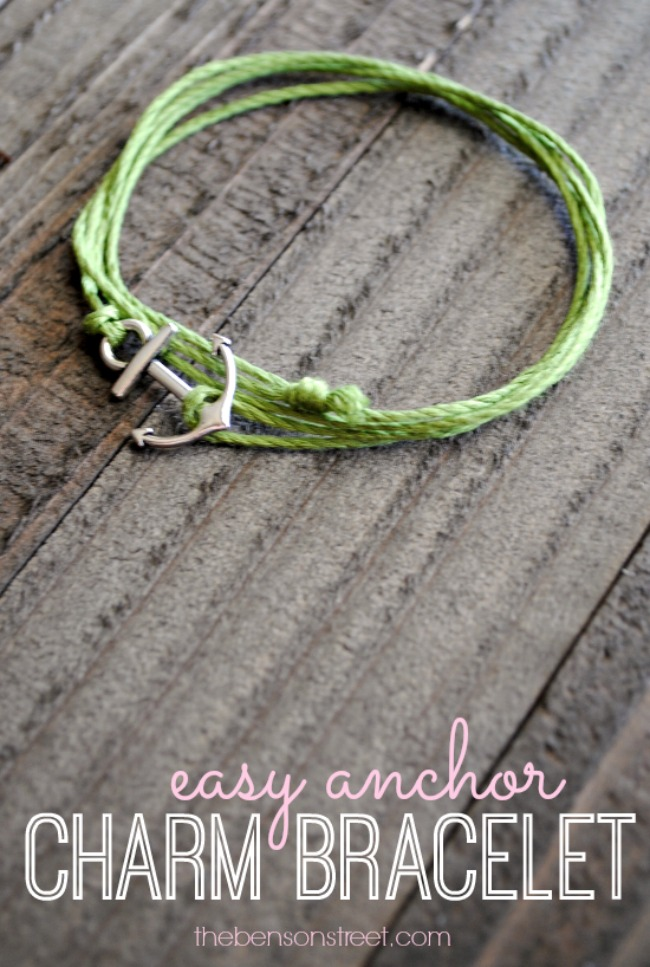 Simple to make adorable easy anchor charm bracelet at thebensonstreet.com