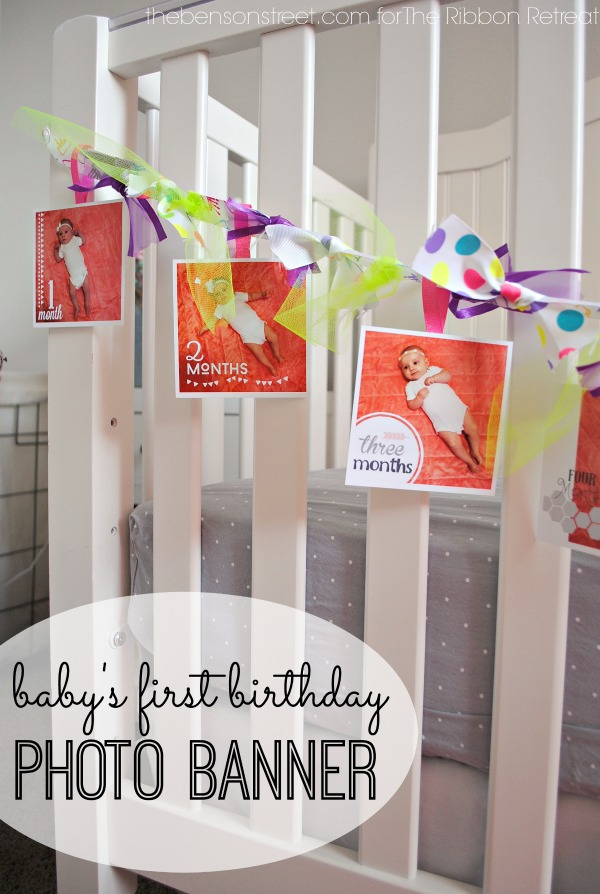 Baby's First birthday photo banner at thebensonstreet.com