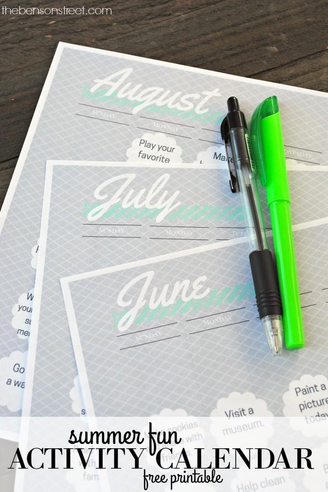2016 Summer Fun Activity Calendar Free Printable at thebensonstreet.com