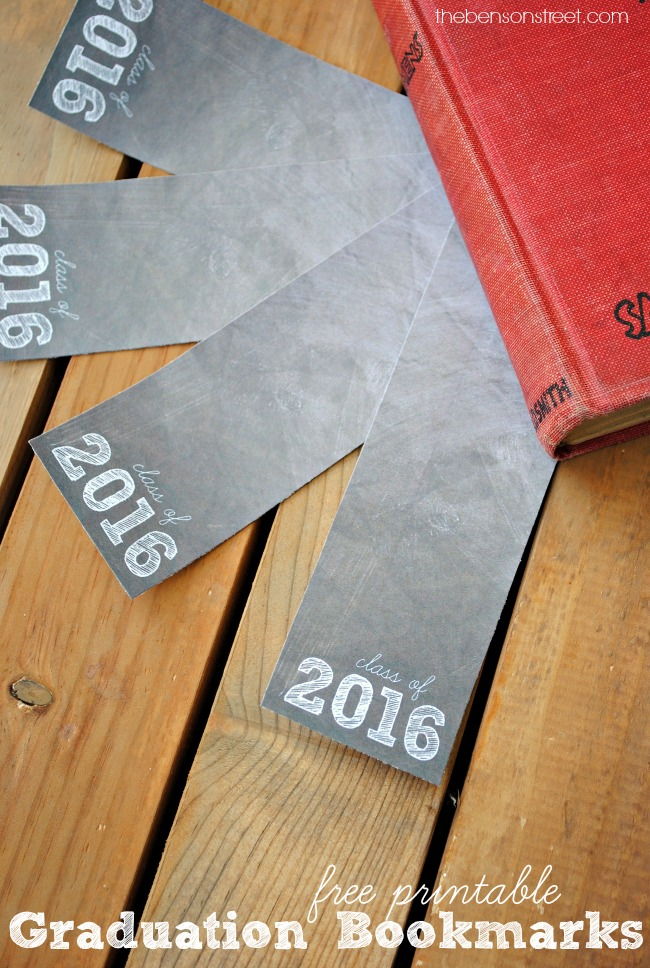 Class of 2016 Free Printable Graduation Bookmarks via thebensonstreet.com