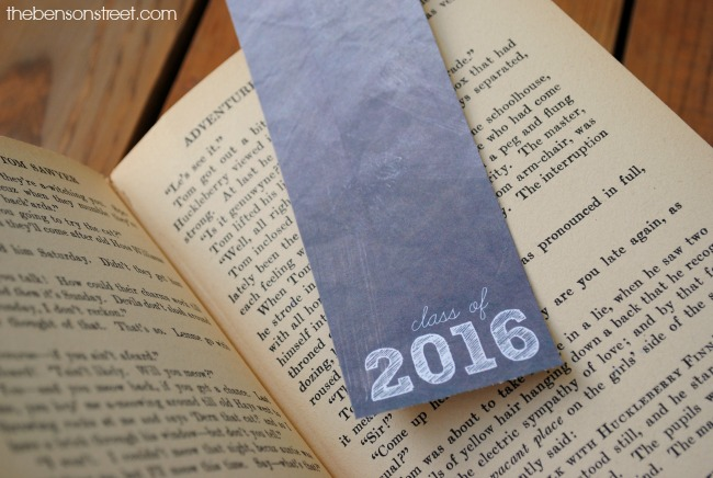 Class of 2016 Graduation Bookmark printable at thebensonstreet.com