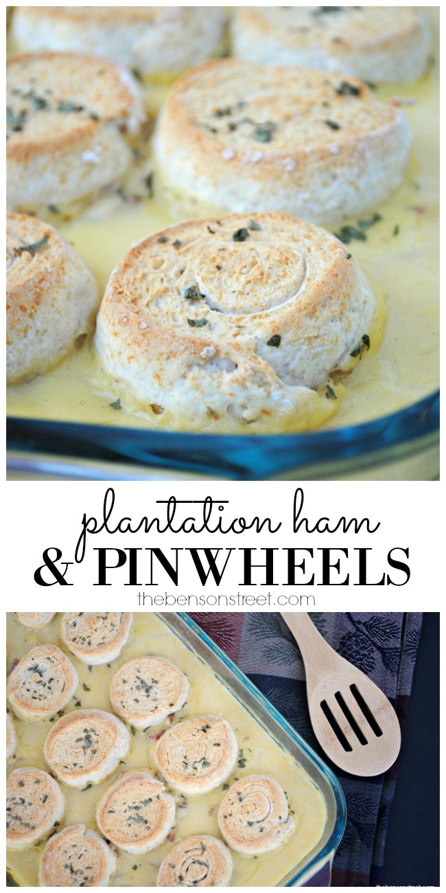 Quick and easy dinner recipe for Plantation Ham and Pinwheels via thebensonstreet.com
