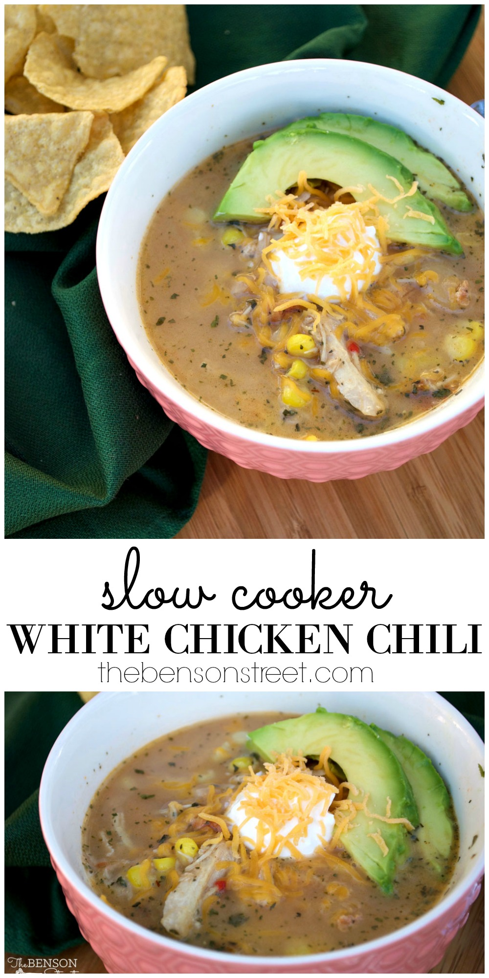 A filling, easy, and delicious dinner recipe for slow cooker white chicken chili. Full of lots of nutritious veggies, beans, and more. Get the recipe at thebensonstreet.com