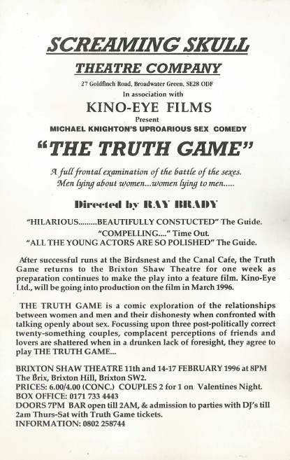 Flyer for 'The Truth Game' - Back