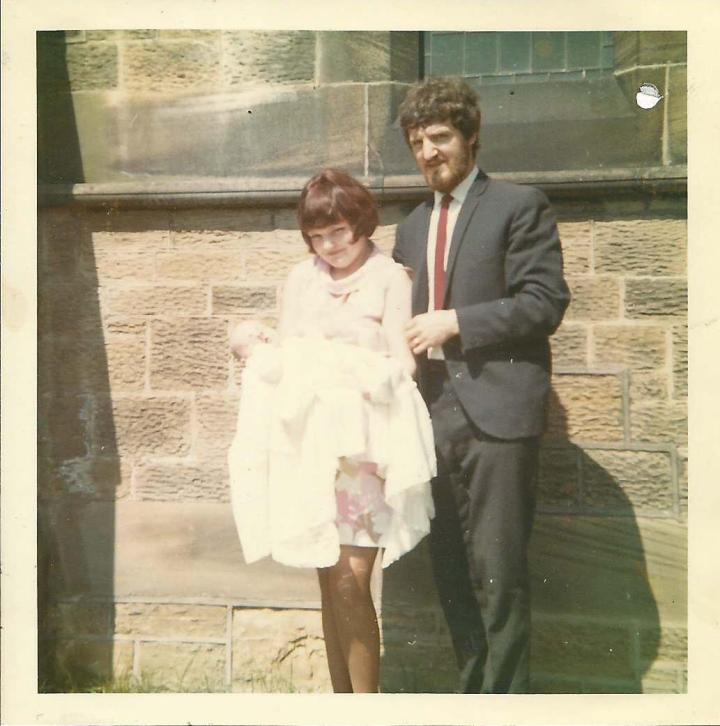 M O'B with his parents at his christening in June 1969