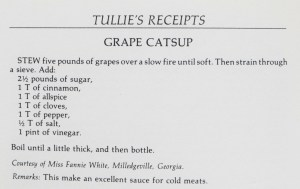 Grape Ketchup Recipe from Tuillles Cookbook