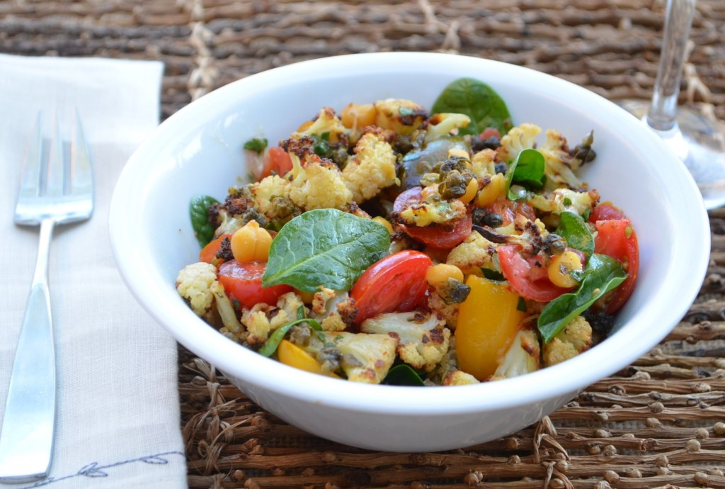 Roasted Cauliflower, Chickpea and Fried Caper Salad