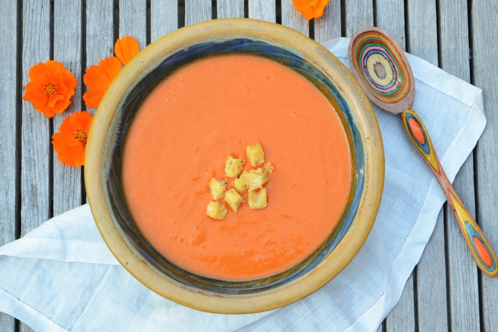 Grilled Tomato Soup with Garlic Croutons