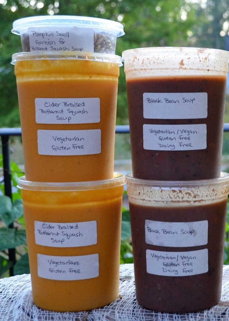 Cider Braised Roasted Butternut Squash Soup and Spicy Vegetarian Black Bean Soup ready for teacher appreciation lunch at the Howard School